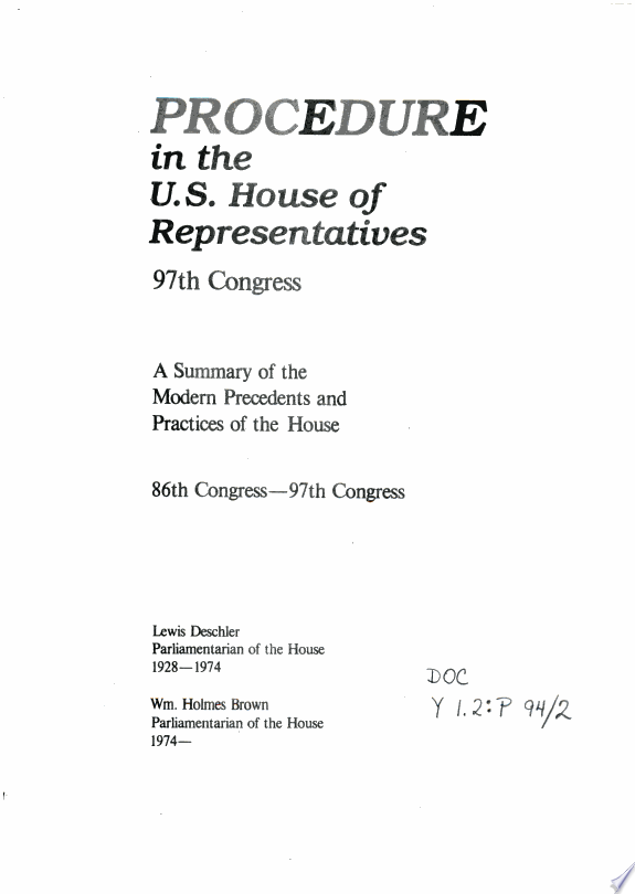Procedure in the U.S. House of Repr