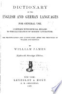 Dictionary of the English and German Languages for General Use Book