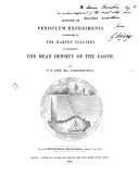 Account of Pendulum Experiments Undertaken in the Harton Colliery to Determine the Mean Density of the Earth