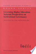 Governing Higher Education: National Perspectives on Institutional Governance