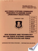 Air Force Systems Command Research Planning Guide