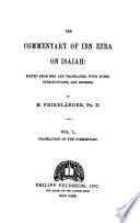 The Commentary of Ibn Ezra on Isaiah  Translation of the Commentary