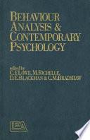 Behaviour Analysis And Contemporary Psychology Book PDF