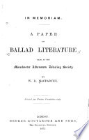 A Paper On Ballad Literature Read At The Manchester Athena Um Debating Society Book