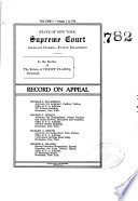 State of New York Supreme Court Appellate Division - Fourth Department Record on Appeal