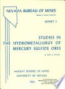 R005: Studies in the hydrometallurgy of mercury sulfide ores