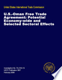 U S Oman Free Trade Agreement Potential Economywide And Selected Sectoral Effect Inv Ta 2104 19
