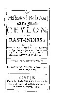 An Historical Relation of the Island Ceylon, in the East Indies
