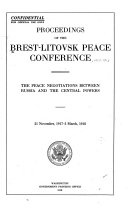 Proceedings of the Brest Litovsk Peace Conference