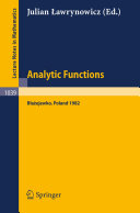 Analytic Functions Blazejewko 1982
