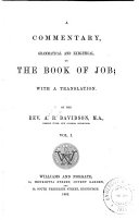 A Commentary, Grammatical and Exegetical, on the Book of Job