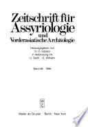 Zeitschrift für Assyriologie und vorderasiatische Archäologie