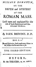 Missale Romanum  or the Depth and mystery of the Roman Mass     The third edition