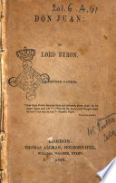 Don Juan in Sixteen Cantos Lord Byron