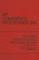 13th NREL Photovoltaics Program Review