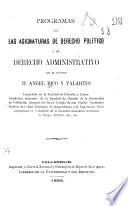 Programas de las asignaturas de derecho político y de derecho administrativo