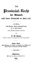 Das Provinzial-Recht der Altmark nach seinem Standpunkte im Jahre 1835