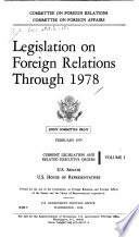 Legislation on Foreign Relations Through 1978 Book
