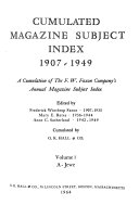 Cumulated Magazine Subject Index  1907 1949  A Jewe