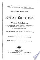 Carleton's Hand-book of Popular Quotations