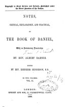 Pdf Notes Critical, Explanatory and Practical on the Book of Daniel
