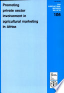 Promoting Private Sector Involvement in Agricultural Marketing in Africa