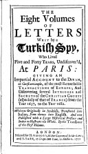 Pdf The Eight Volumes of Letters Writ by a Turkish Spy