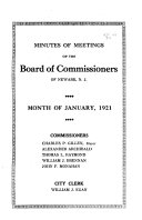 Minutes of Meetings of the Board of Commissioners of Newark  N J