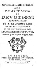 Several methods and practices of devotion: appertaining to a religious life, etc