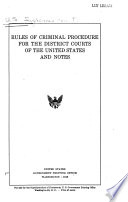 Rules of Criminal Procedure for the United States District Courts Book