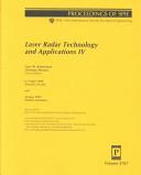 Laser Radar Technology and Applications IV