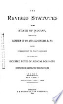 The Revised Statutes Of The State Of Indiana