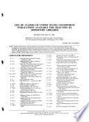 List of Classes of United States Government Publications Available for Selection by Depository Libraries