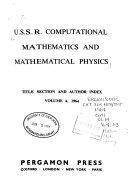 U S S R  Computational Mathematics and Mathematical Physics