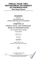 Fiscal Year 1991 Department of Energy Authorization: Basic energy sciences