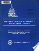 Strategic and Critical Materials Report to the Congress