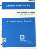 American National Standard Design Requirements For Light Water Reactor Fuel Handling Systems Book PDF