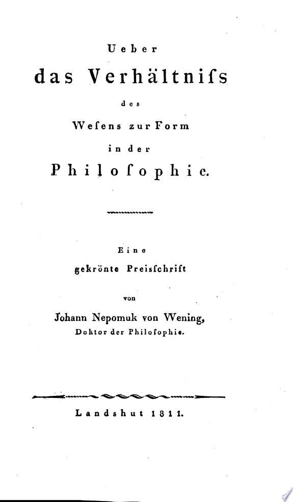 ber das Verh  ltniss des Wesens zur Form in der Philosophie