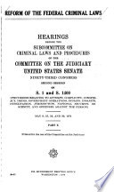 Reform of the Federal Criminal Laws