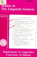 Studies in the Linguistic Sciences