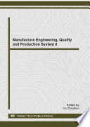Manufacture Engineering  Quality and Production System II Book