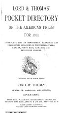 Lord Thomas And Logan Pocket Directory Of The American Press