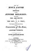 Koul Jacob, in Defence of the Jewish Religion