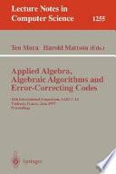 Applied Algebra Algebraic Algorithms And Error Correcting Codes
