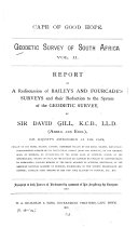Report on a Rediscussion of Bailey's and Fourcade's Surveys and Their Reduction to the System of the Geodetic Survey