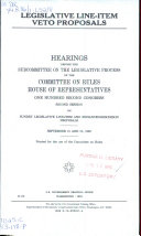 Legislative Line item Veto Proposals