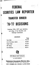 Federal Securities Law Reporter