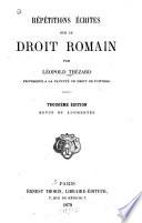 R P Titions Crites Sur Le Droit Romain