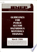 Guidelines For Public Sector Hazardous Materials Training