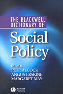 The Blackwell Dictionary Of Social Policy Book PDF